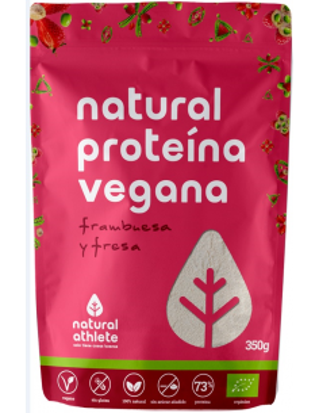 proteina vegana fresa y frambuesa bio 350 gr
